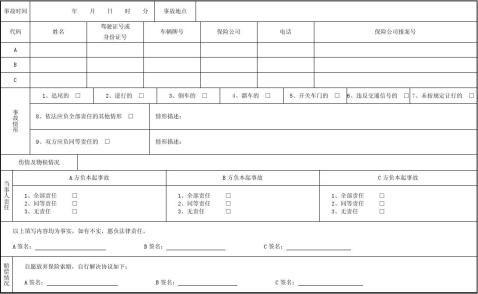 北京市机动车交通事故快速处理协议书