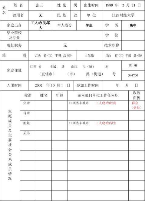 入党积极分子考察登记表样本