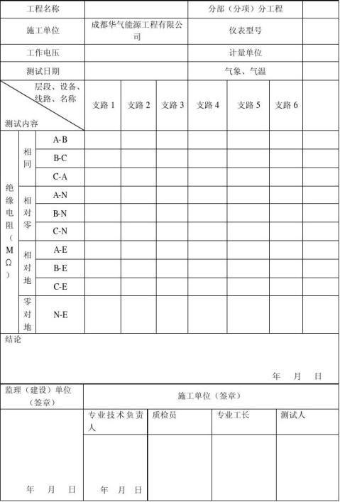 绝缘电阻测验记录表