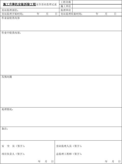 施工升降机安装拆除工程安全旁站监理记录表