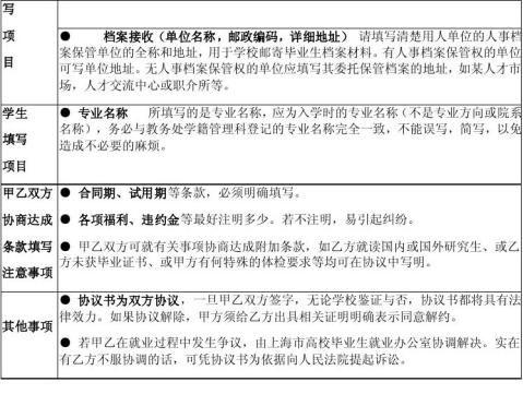 毕业生就业协议书四联单填写注意事项