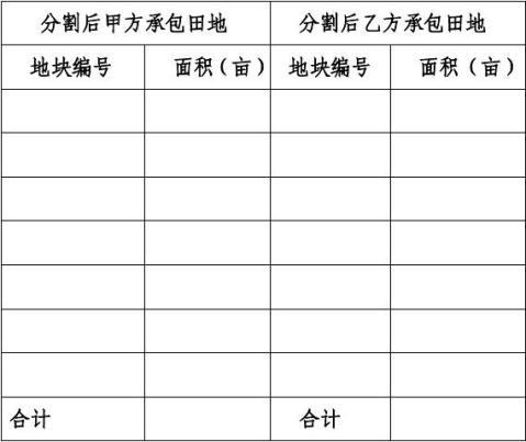 白碾村农村土地经营权证分割协议书