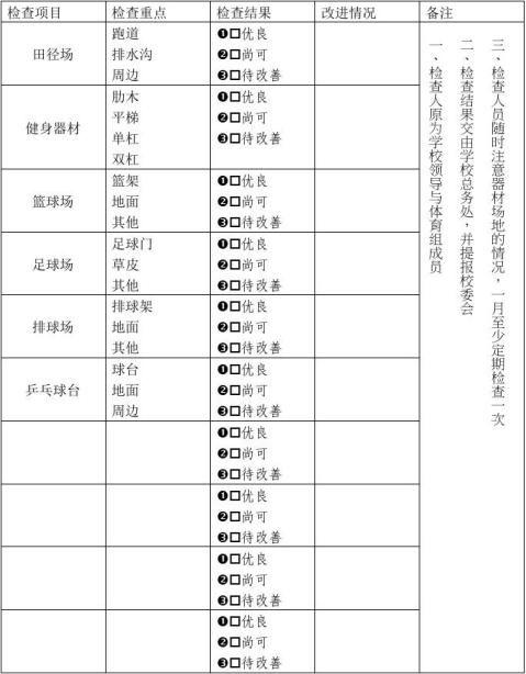 胡契山小学室外体育器材定期检查维修记录表