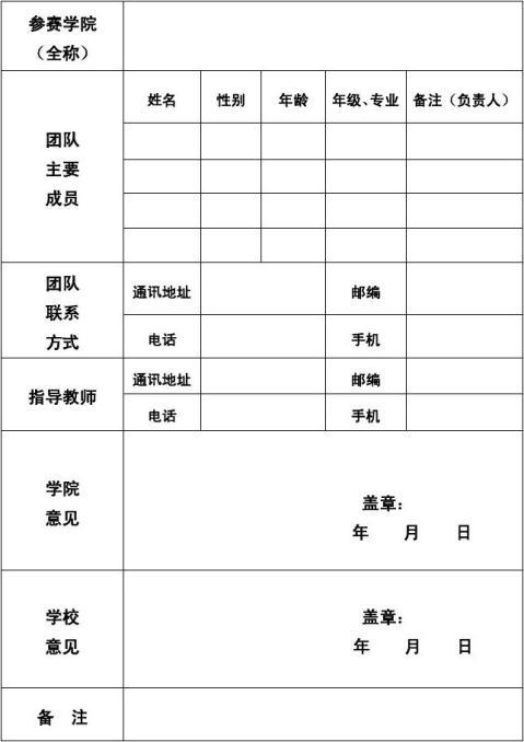 公益创业赛参赛项目申报表