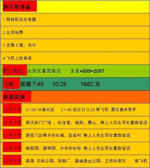 北京之行计划书