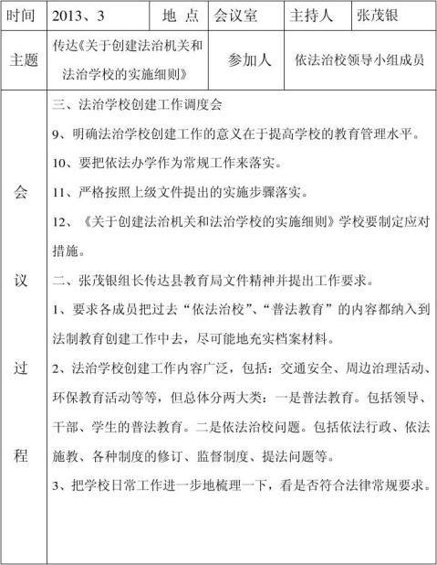 红光学校依法治校会议记录5