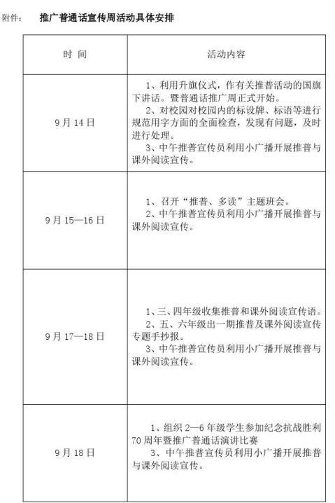 小学推广普通话宣传周活动实施方案