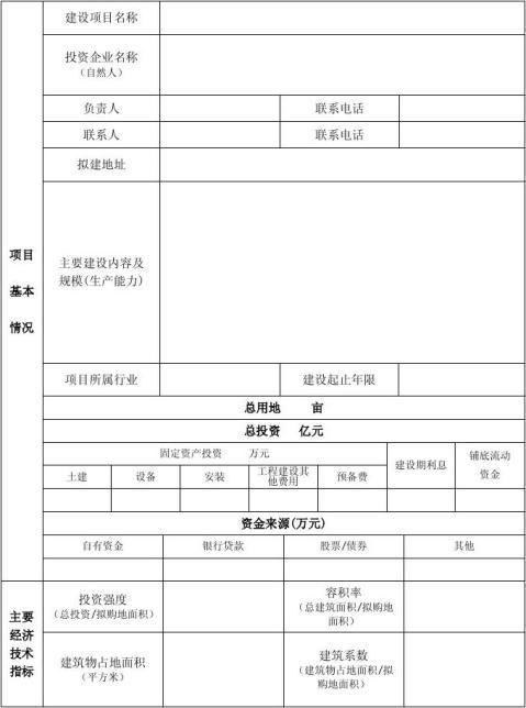 项目准入申请表