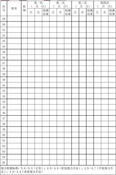 学生视力检测表1