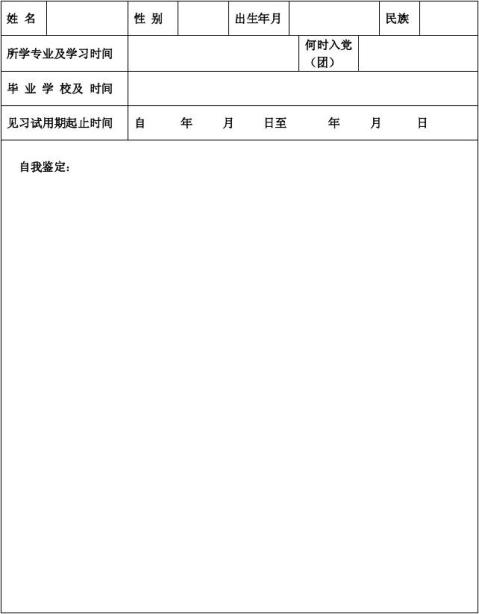 Bnbqxhi高等学校毕业生见习期考核鉴定表