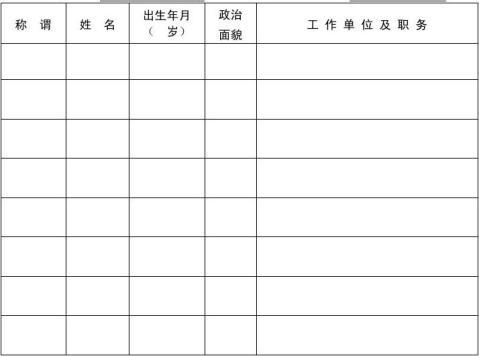 家庭主要成员及主要社会关系情况表填写样式