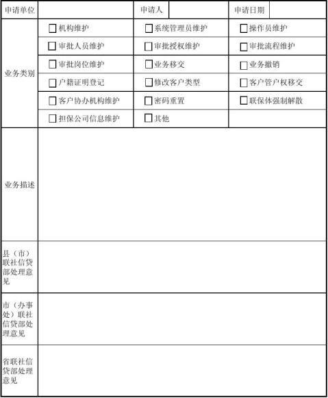 黑龙江省农村信用社信贷系统业务处理申请表