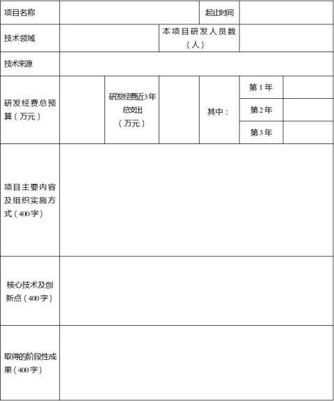 高新技术企业认定申请书格式