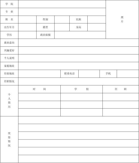 4种个人简历表格标准文本免费下载