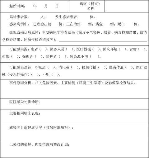 医院感染暴发信息报告表