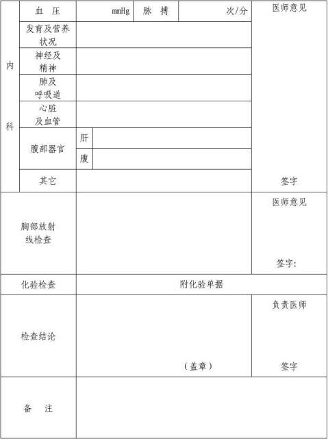 湖北省申请认定教师资格人员体检表2