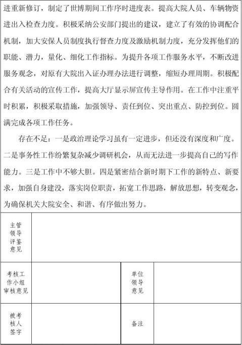 20xx年昆山市事业单位工作人员年度考核登记表