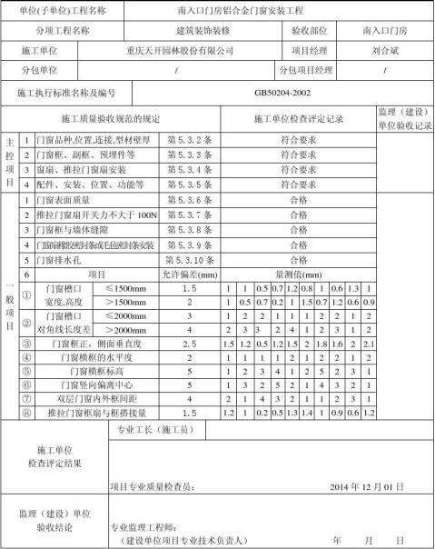 2铝合金门窗安装工程检验批质量验收记录表