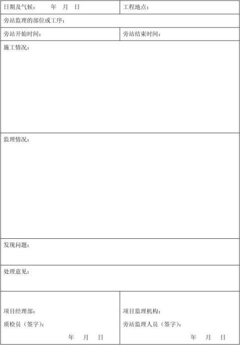 旁站监理记录表填写范本