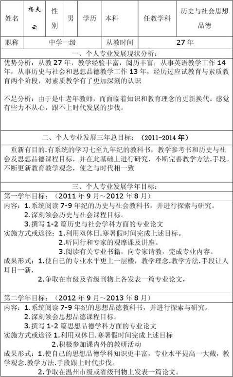 汀田第三中学教师个人专业发展三年规划表