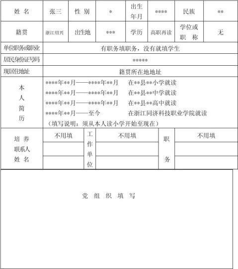 入党积极分子培养考察登记表填写规范