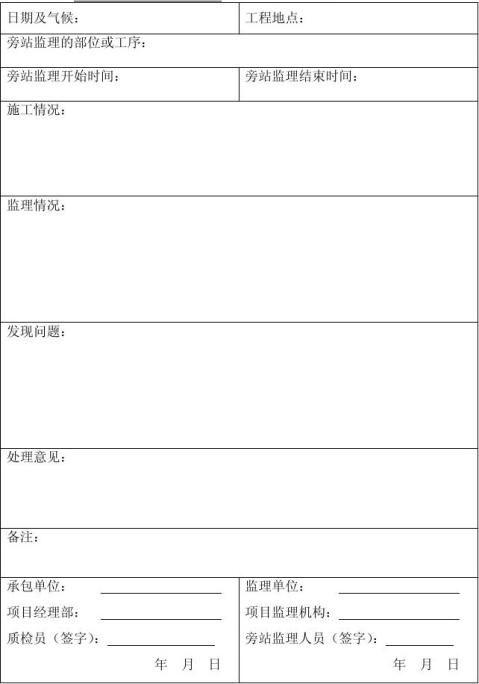 旁站监理记录表空白模板