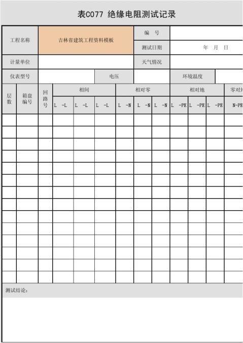 表C077绝缘电阻测试记录