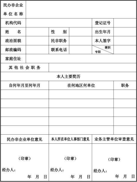 民办非企业单位负责人备案表
