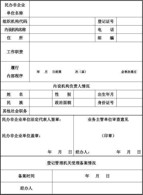 安徽省民办非企业单位内设机构备案表