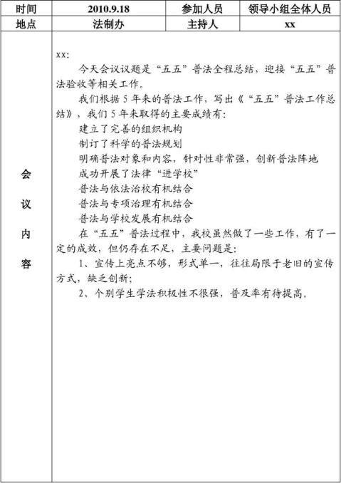 普法领导小组会议记录