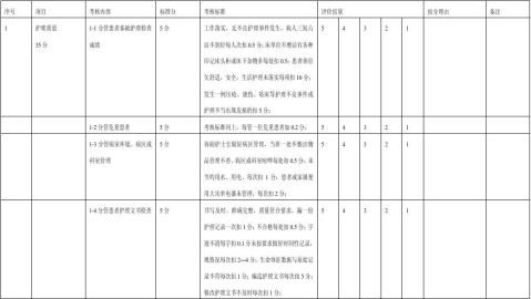 护士工作质量评分表