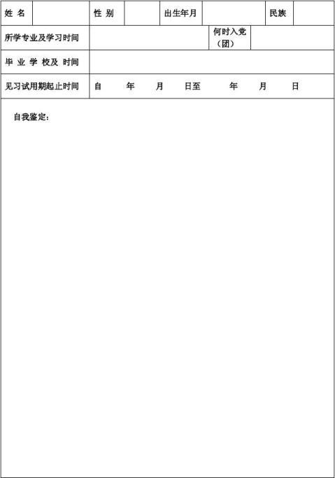 Kpuvpt高等学校毕业生见习期考核鉴定表